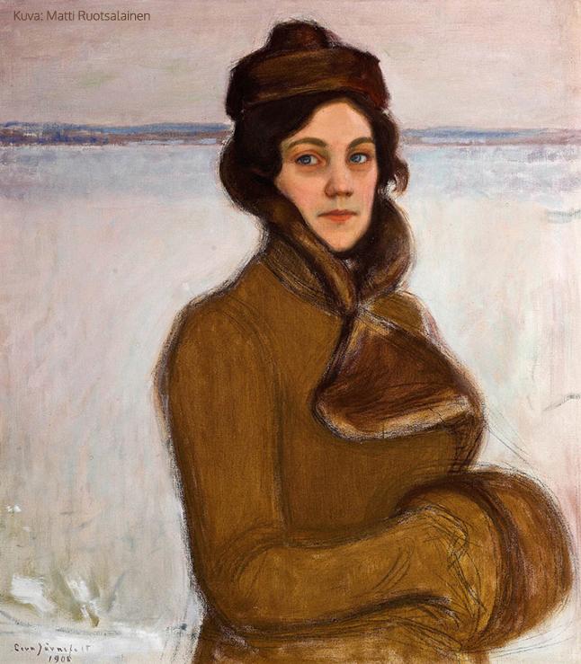 Nelma Sibelius Tuusulanjärven rannalla, 1908, öljy kankaalle, 72 x 64 cm, Yksityiskokoelma
