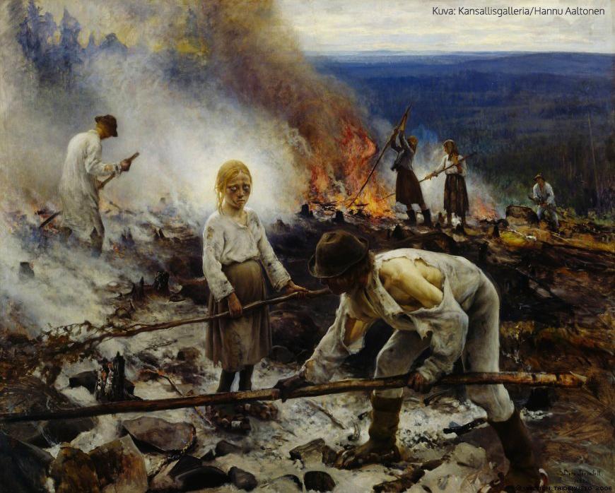 Raatajat rahanalaiset (Kaski) 1893, öljy kankaalle, 131 x 164 cm, Ateneumin taidemuseo