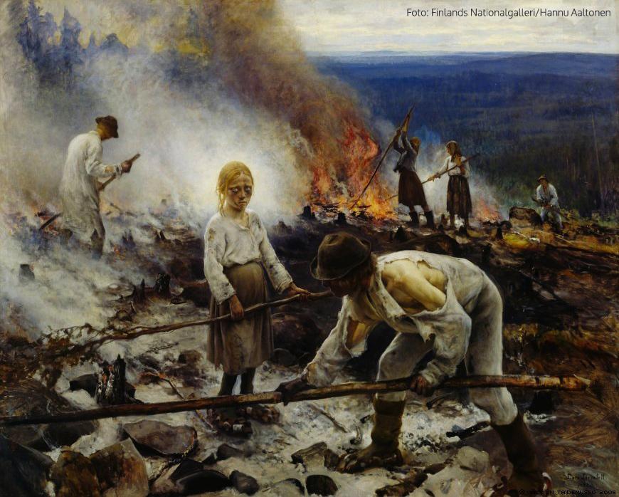 Trälar under penningen (Sved), 1893, olja på duk, 131 x 164 cm, Konstmuseet Ateneum