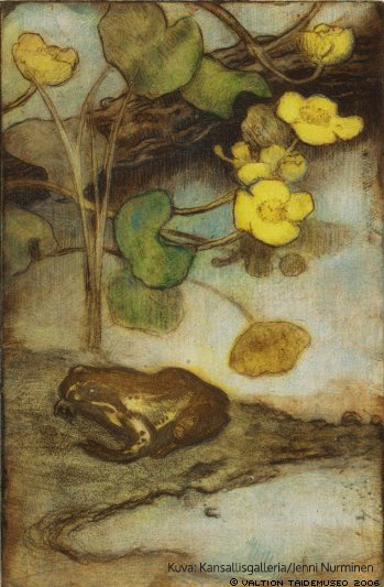Rentukka ja sammakko, ajoittamaton, pehmeäpohjasyövytys, 23,3x15,1 cm, Ateneumin taidemuseo